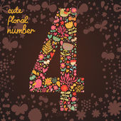 The number 4 Bright floral element of colorful alphabet made from birds flowers petals hearts and twigs Summer floral ABC element in vector