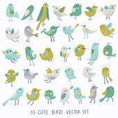 Set of 33 bright beautiful birds in vector Cartoon collection with cute little birds family