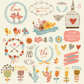 Vintage love collection: flowers labels laurel hearts birds cats rabbit air-balloon bicycle Graphic set in retro style