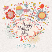 Happy mothers day card in cartoon style Bright spring concept illustration with flowers birds and hearts in vector