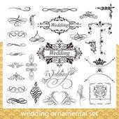 Svatební ozdobné sada s srdce, rohové a hraničních prvků izolovaných na bílém pozadí