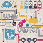 Web design concept: cloud computing social networks share contents Concepts are connected together representing the great capacity of Internet communication