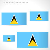 Saint Lucia flag template vector symbol design color blue yellow black and white icon set