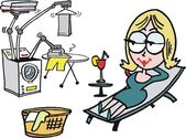 Cartoon depicts woman relaxing while robotic arm does laundry and ironing tasks
