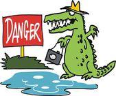 Vector cartoon of fierce crocodile lurking near danger sign
