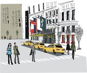 Vector illustration of taxis outside Manhattan hotel New York