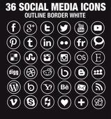36 sociální media ikony - nová verze - kroužit bílé vnější ohraničení
