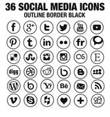 SImple social media icons Hight quality vectors fully customizable for blogs websites webdesign- new version - circle black whith outline border
