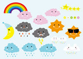 Cute Cartoon Weather Icons Digital Clip Art Set - For Scrapbooking Card Making Invites - Instant Download