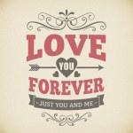 Постер, плакат: Wedding typography love you forever vintage card background design