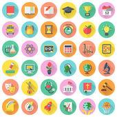 Plochý školní předměty ikony v kruzích s dlouhými stíny