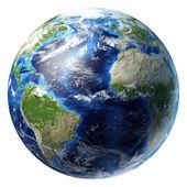 Planeta Země s přívalovými srážkami. Atlantský oceán
