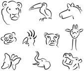 Handdrawn vector animal symbols