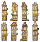 Vector handdrawn illustration of cartoon buildings