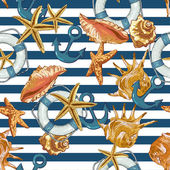 Summer Seamless Pattern with Sea Shells Anchor Lifeline on Striped Background