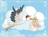 Vector cartoon of a cute stork carrying a baby to its destination File type: vector EPS AI8 compatible