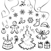 Vector set of Christmas graphic elements isolated on white background