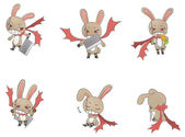 Assassin bunny icon collection create by vecto