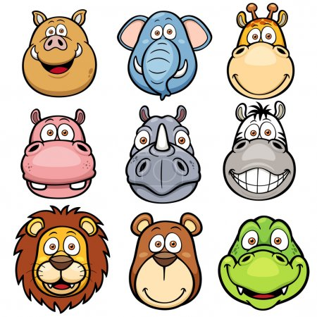 Постер, плакат: Wild animals faces cartoons, холст на подрамнике