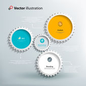 Icons and footnotes for information graphics Colorful gears on a light blue background Interaction gears Bright and clean design Vector illustration