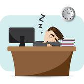 Illustration of cartoon businessman sleeping on working time