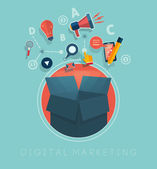 Box with cloud of colorful application icons on media theme Digital marketing concept