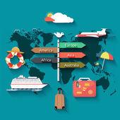 Soubor ikony plánování na letní dovolenou a cestování
