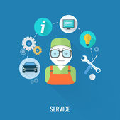 Set for web and mobile applications of office work Service master concept with item icons