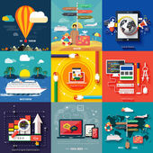 Icons for web design seo social media and pay per click internet advertising and icons set of traveling planning a summer vacation in flat design