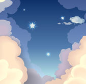 Evening sky with clouds and stars vector illustration