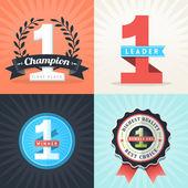 Plochý design první místo, vítěz stuhy a odznaky