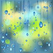 Regentropfen auf das Fenster mit Herz