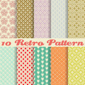10 Retro different vector seamless patterns (tiling) Endless texture can be used for wallpaper pattern fills web page backgroundsurface textures Set of monochrome geometric ornaments