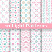 10 Light floral romantic vector seamless patterns (tiling) Shabby chic pink and blue colors Endless texture can be used for printing onto