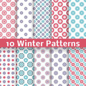 10 Light winter romantic vector patterns (tiling) Shabby chic red white and blue colors Snowflakes background Abstract flower seamless