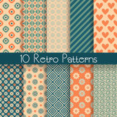 10 Retro abstract vector seamless patterns (tiling with swatch) Endless texture can be used for wallpaper fill web background texture Set of monochrome geometric ornaments Vintage colors
