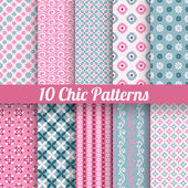 10 Chic different vector seamless patterns (tiling) Pink and blue color Endless texture for printing onto fabric paper scrap booking Wave flower and dot shape Pretty cute print background