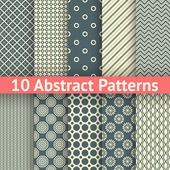 10 Abstract vintage vector seamless patterns Endless texture for wallpaper fill web page background surface texture Set of abstract geometric ornament White and blue shabby colors