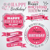 Happy birthday greeting card collection in holiday design Retro vintage style Typography letters font type Vector illustration for your pretty design Pink white and black colors