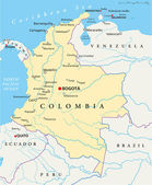 Political map of Colombia with capital Bogota national borders most important cities rivers and lakes Illustration with English labeling and scaling
