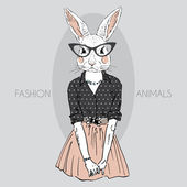 Fashion illustration of bunny girll dressed up in hipster style