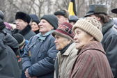 Elderly people take part in a meeting dedicated to elections in parliament, December 24, 2011, Voronezh, Russia.