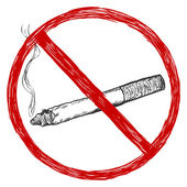 Vector sketch illustration - no smoking sign