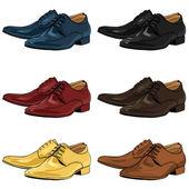 Vector Set of Color Cartoon Classical Men Shoes