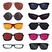 Vektor készlet színes rajzfilm szemüveg