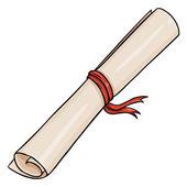 Vektor kreslené svitek s červenou stužku
