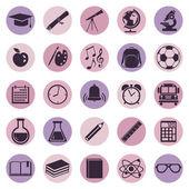 Vector Set of violet School Icons