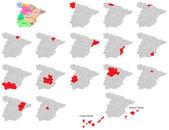 A set of provinces maps icons