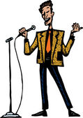 Woodcut Illustration of Lounge Singer