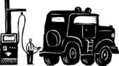 Woodcut Illustration of Man Putting Gas into Giant Gas Guzzler SUV